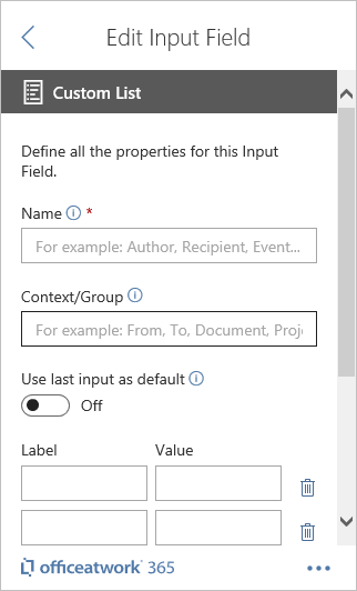 Designer Custom List Input Field