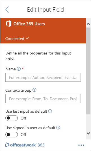Designer Office 365 Users Input Field
