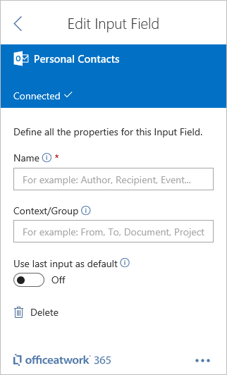 Designer Office 365 Personal Contacts Input Field