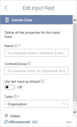 Designer Sample Data Input Field