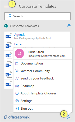 Template Chooser navigation