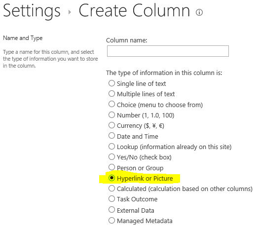 SharePoint site settings create hyperlink field