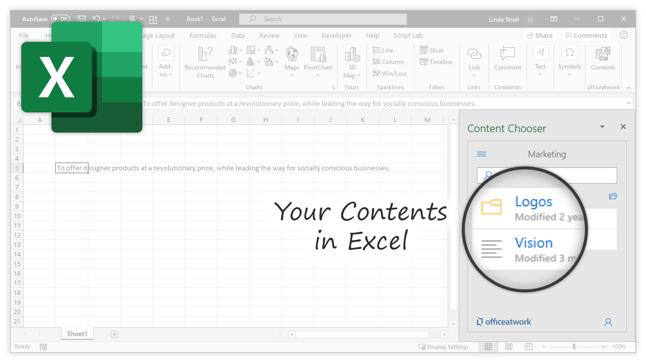 Content Chooser for Office, Excel