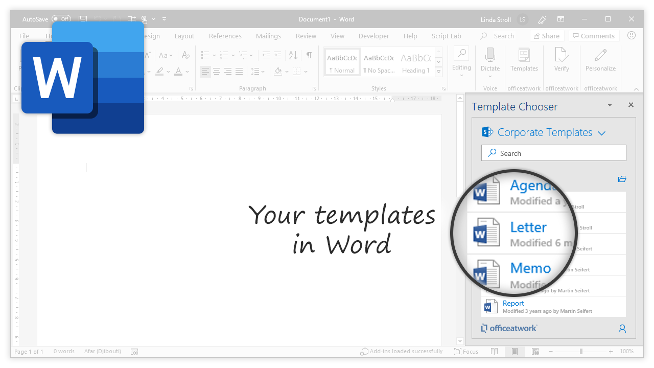 Template Chooser for Office, Word